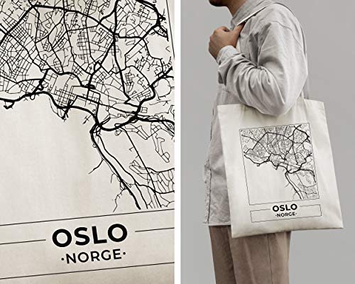Oslo, Norway, Mapa Ciudad Bolso Mano Algodón