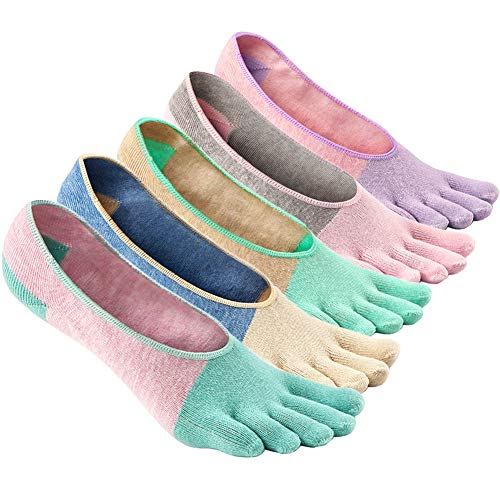 LOFIR Zehensocken Damen 5 Finger Socken Bunte Socken aus Baumwolle Anti-Rutsch Socken mit Zehen...