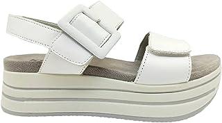 Sandali donna IGIeCO 7162011 scarpe platform zeppa casual comoda pelle bianchi