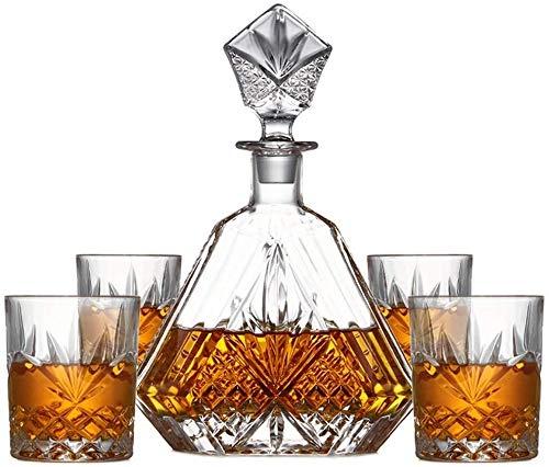 Whiskey Jarra y Vasos, Decorado con Scotch, Bourbon, Licor, de 5 Piezas, 100% Libre de Plomo de Cristal con Caja de Regalo, sólida y Estable HMLIFE