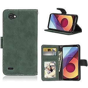 Sangrl Libro Funda para LG Q6 / Q6a / Q6+ / M700, PU Cuero Cover Flip Soporte Case [Función de Soporte] [Tarjeta Ranuras] Cuero Sintética Wallet Flip Case Verde