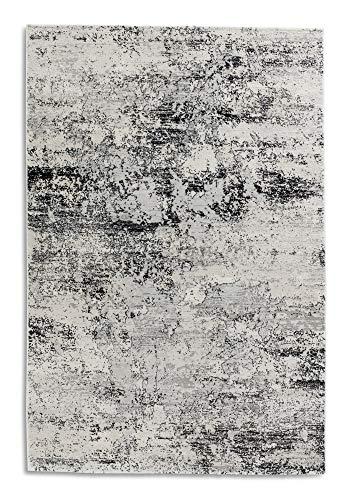 hochwertiger Designer Teppich Antea — Moderne Kurzflor Teppiche — Zimmerteppich im Vintage Design — (80x150cm, schwarz/beige Vintage)