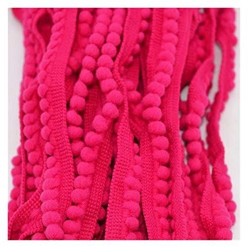 Hermosamente 5 yardas bola decorativa 11mm mini perla pompomin borde cinta cosida encaje tejido anudado artesanía hecha a mano accesorios para decoración de costura artesanal, ( Color : Rose red )