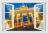 Skins4u Fenster 3D Optik Wandtattoo Wandbild Aufkleber 120x80cm Brandenburger Tor