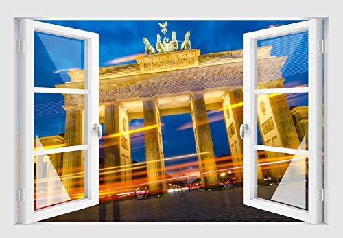 Skins4u Fenster 3D Optik Wandtattoo Wandbild Aufkleber Wand Dekoration Foto Bild Tapete Motiv Brandenburger Tor