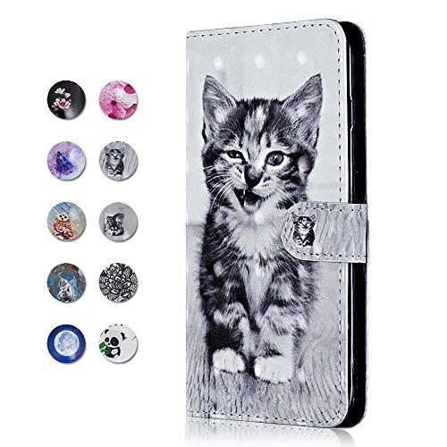 Xiaomi Redmi S2 Hülle, CAXPRO® PU Leder + TPU Innere Schutzhülle mit Standfunktion und Magnetverschluss, Brieftasche Handyhülle für Xiaomi Redmi S2 - Katze