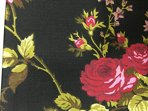 Fashion Fabrics Black Red Rose Flower Print Poly Cotton Fabric - Sold By The Yard - 59'
