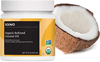Amazon Brand - Solimo Organic Coconut Oil, Refined, Non-GMO, 15 ounce