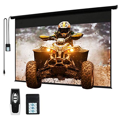 """120"""" Motorized Projector Screen Electric Diagonal Automatic Projection 4:3 HD Movies Screen for Home Theater Presentation Education Outdoor Indoor W/Remote Control and Wall/Ceiling Mount (Black)"""