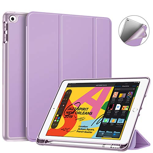 Fintie SlimShell Case for New iPad 7th Generation 10.2 Inch 2019 with Built-in Pencil Holder - Smart Stand Soft TPU Back Cover, Auto Wake/Sleep for iPad 10.2' Tablet, Violet
