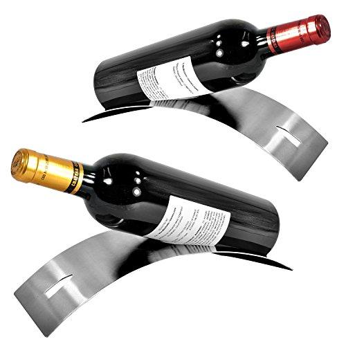 Set of 2 Modern Stainless Steel Tabletop Wine RackSingle Bottle Holder