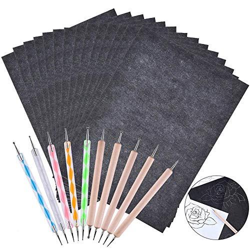 UniquQ 100 Blatt Kohlepapier, A4 Graphitpapier Transferpapier, Carbon Papier Pauspapier und 10 Prägestift, für Holz, Papier, Leinwand und Andere Kunstoberflächen Transparentpapier