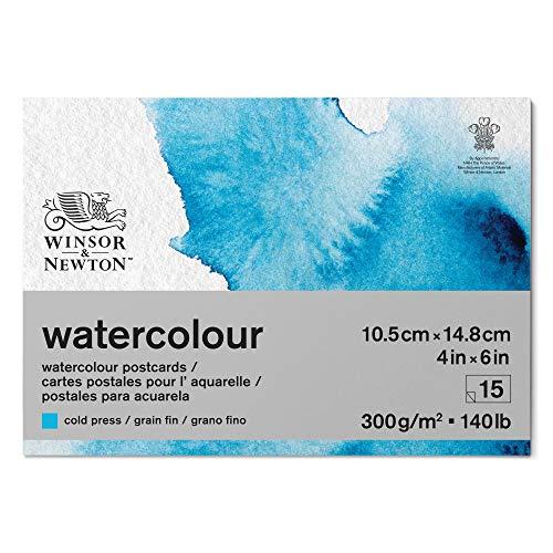 Winsor & Newton 6667009 - Papel para acuarela (mezcla de 25% algodón y fibras de celulosa, 10,2 x 15,2 cm, 15 hojas en bloc, 300 g/m²)