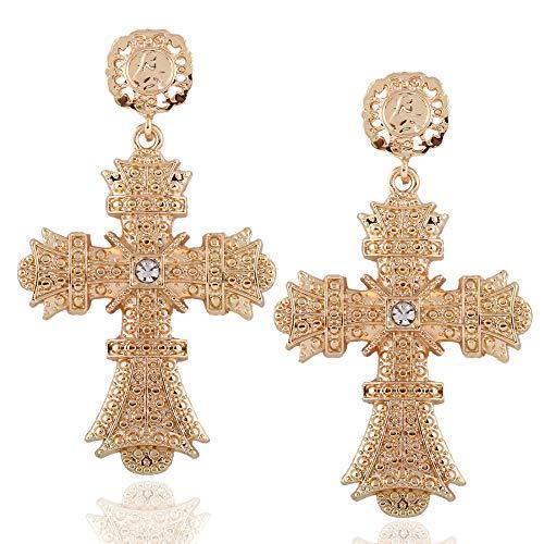 Pendientes de moda personalidad pendientes de cruz de diamantes de oro simple pendientes