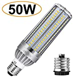 ANGROC 50W LED Corn Lamp Bulb Super Bright Ceiling Light 5500 Lumen (500W Equivalent) 6500K Cool White Daylight E26/E39 Mogul Base for Garage Warehouse Factory Commercial Lighting