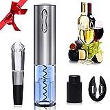 GlobaLink Elektrischer Korkenzieher automatischer Weinöffner wiederaufladbar Flaschenöffner mit Kapselschneider Ausgießer Wein Stopfen und