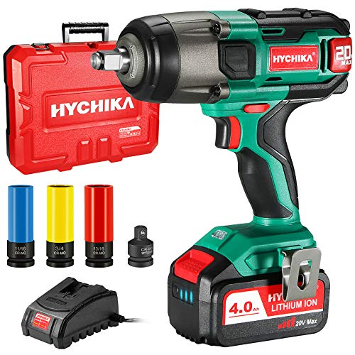 """Cordless Impact Wrench 20V Max, HYCHIKA 260 Ft-lbs Max Torque Impact Wrench, 1/2"""" Metal Chuck, 4.0 AH Battery with 1H Fast Charger, LED Light, 3 Pcs Sockets & 1/2"""" to 3/8"""" Adapter, Carrying Case"""