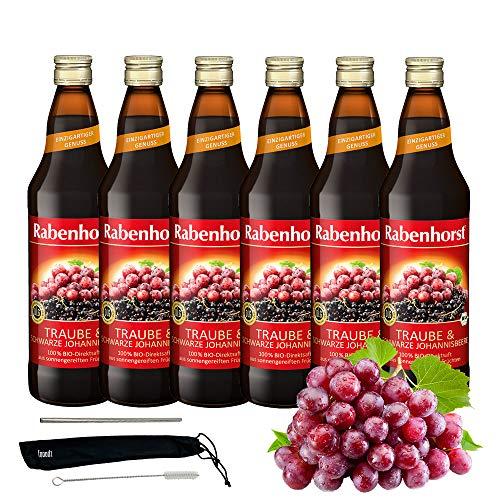 Rabenhorst Saft Traube & Schwarze Johannisbeere 6x 700ml Vegan Bio Trauben-Johannisbeersaft - 100% Bio-Direktsaft PLUS fooodz-Trinkhalm Set mit Reinigungsbürste