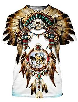 Chiclook Cool Harajuku Native American Shirt Print Unisex Clothing Swag T-Shirt White 7XL