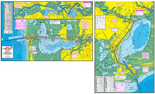 Topographical Fishing Map of Sabine Lake and Calcasieu Lake - with GPS Hotspots