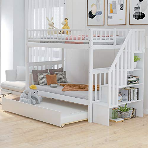 SOFTSEA Twin Over Twin Bunk Bed with Trundle