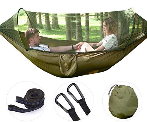 Uong Camping Hängematte mit Moskitonetz, 1-2 Personen Tragbare Leichte Pop-Up Fallschirm Hängematten für Outdoor Backpacking oder Camping, Reisen, Strand (250 * 120cm/Armeegrün)