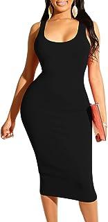 Mizoci Women`s Basic Casual Midi Tank Dresses Sexy Sleeveless Square Neck Bodycon Club Dress