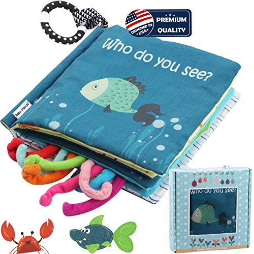 Sea Animal Fabric Cloth BookSoft Tails books(Fishy Tails)Soft Activity Crinkle Book Toys for Early Education for BabiesToddlersInfantsKids with Teether Ring & Gift Box Teething Book Baby Shark