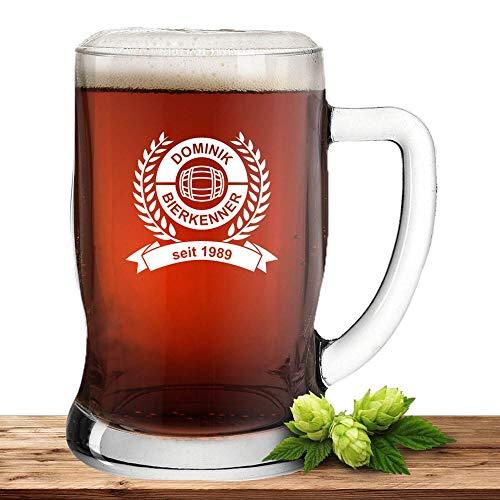 Deitert Bierseidel mit Name oder Wunschtext, Leonardo Bierkrug 0,5l inkl. Gravur, individuelles Geschenk, personalisiertes Bierglas, Motiv Biertrinker