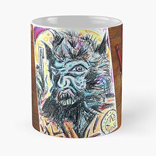 Desconocido Horror Wolf Man Werewolf Dracula Frankenstein Taza de café con Leche 11 oz