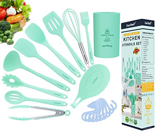 Aschef - Set di Utensili da Cucina in Silicone, pratici e robusti, antiaderenti, Set da 11 Pezzi, (completo di Contenitore) Colore: Blu