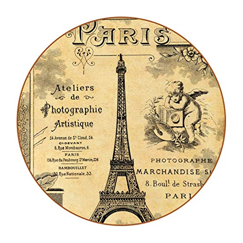 Bennigiry Posavasos de piel con diseño vintage de la torre Eiffel con borde de cuero redondo resistente al calor, tazas de café, tazas de cristal, 6 piezas