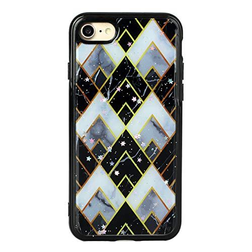 HengJun - Funda para iPhone SE 2020 Funda para iPhone 8 Funda para iPhone 7 de 4.7 Pulgadas, Serie Marble TPU - Celosía de Diamante