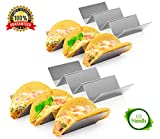4 Pack Stainless Steel Taco Holder Tray, Taco Truck Stand Holds Up To 3 Tacos Each as Plates, Use as a Shell Baking Rack - Safe for Dishwasher, Oven, and Grill, Holders Size 8' x 4' x 2'