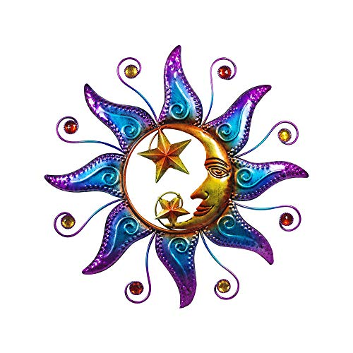 Home Gadgets Adorno de Pared Decorativo Sol y Luna Metal 40 cm