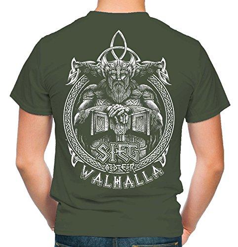 Sieg oder Walhalla Männer und Herren T-Shirt | Odin Wikinger Valhalla Geschenk | M1 FB (L, Olive)