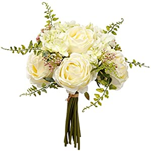 11″ Peony & Sweet Pea Silk Flower Bouquet -White/Green (Pack of 12)
