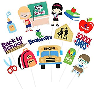 Back To School Party Cake Cupcake Toppers For First Day Of School Classroom Party Teacher Gift Centerpiece Sticks For Welcome Activities Favor Supplies New Grade Room Décor