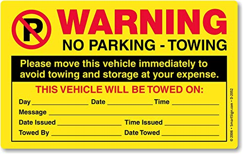 SmartSign'Please Move This Vehicle to Avoid Towing' Pack of 50 Parking Violation Stickers | 5' x 8'