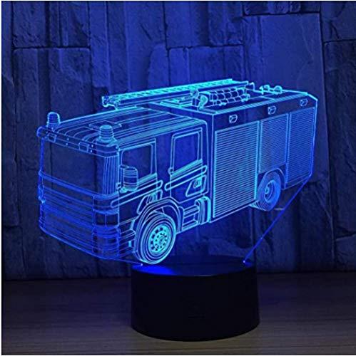 LED Fire Engine Voiture 3D Veilleuse 16 Couleurs Lampe de Table de Bureau LED Chapiteau Lettre Lumière Décor à la Maison Cadeaux