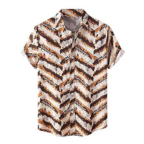 Camisa de verano para hombre, camiseta de manga corta, a rayas, corte regular, camisa hawaiana para hombre, básica, elegante, camisa con solapa, camisa hawaiana para hombre, Caqui A., XXXL