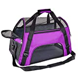 Soft Pet Carrier Airline Approved Soft Sided Pet Travel Carrying Handbag Under Seat Compatibility, Perfect for Small Cats and Small Dogs Breathable 4-Windows Design-Small Size (Purple)