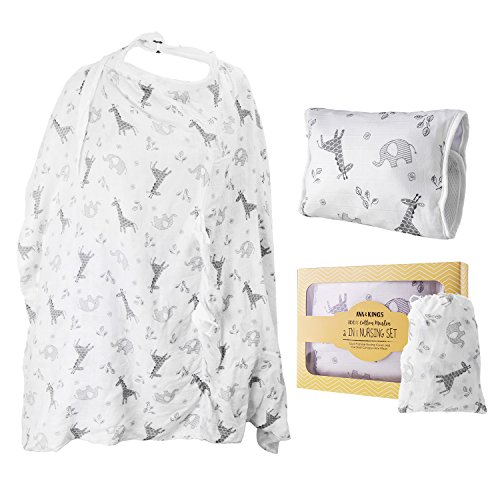 Ava & Kings 2-in-1 Baby Nursing Set - Dual Purpose Nursing Cover/Car Seat Canopy and Arm Pillow - Made w/ 100% Cotton Muslin | for Infant Girls & Boys, Unisex White Zoo Safari Animals Design