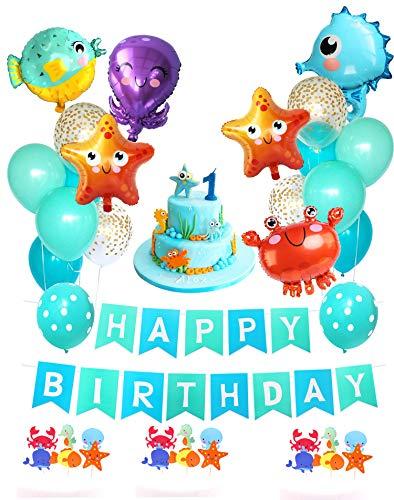Glizer, set di 35 palloncini a forma di stella marina, a forma di cavalluccio marino, a forma di pesce, a tema marino, Happy Birthday, per feste di compleanno per bambini, decorazioni per torte