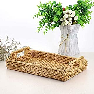 Hand-Woven Rattan Rectangular Serving Tray with Handles for Breakfast, Drinks, Snack for Coffee Table for Tea Bread Cake (...