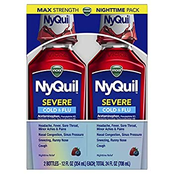Vicks NyQuil SEVERE Nighttime Relief of Cough Cold & Flu Relief Sore Throat Fever & Congestion Relief Berry Flavor Twin Pack 12 FL OZ