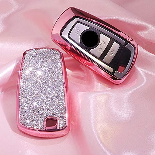 Luxury 3 4 Buttons 3D Bling Smart keyless Entry Remote Blade Key Fob case Cover for BMW 1 2 3 4 5 6 7 M Series,BMW X1 X3 X4 M2 M3 M4 M5 M6 Pink