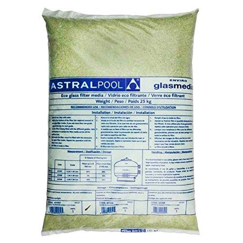 57013-IT 25 kg de 3,0 mm – 7,0 mm Filtro Activo de vidrio transparente en lugar de arena de sílice para la filtración y purificación de piscinas.