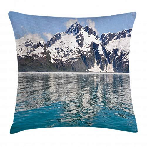 ABAKUHAUS Alaska Funda para Almohada, Aialik Bay Fiordos De Kenai, con Estampas Digitales Personaliz