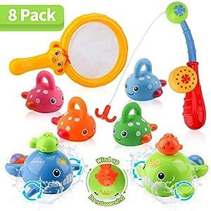 BBLIKE juguetes de baño para bebé, juguetes de pesca sin moho con juguetes de baño para pesca para bebés de 14 meses + en bañera, piscina, 8 piezas de juguetes de ducha